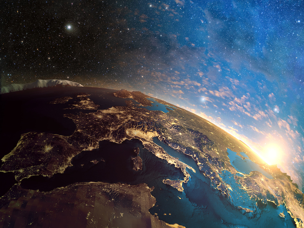 Detailed colorful Earth,highly detailed planet earth in the morning